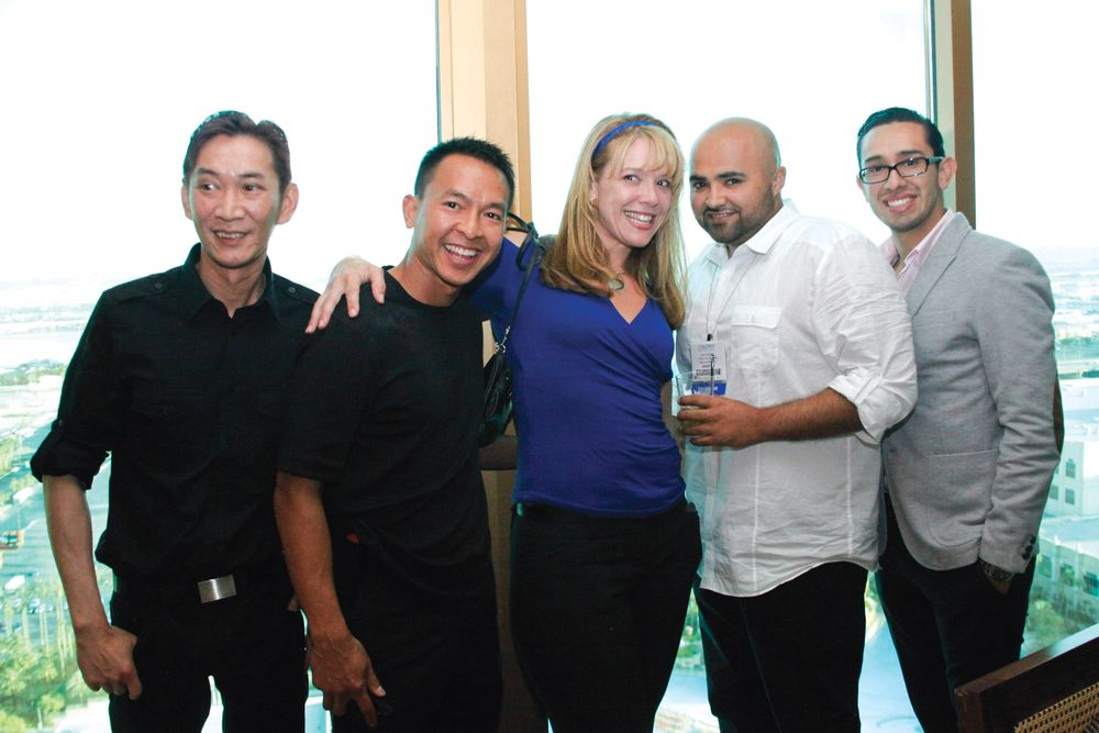 <p>OPI&rsquo;s Joseph Pham, Lebelle&rsquo;s David Pham and Jean Searing, and Blaine Labs&rsquo; Rey Tinoco and Carlos Solis</p>