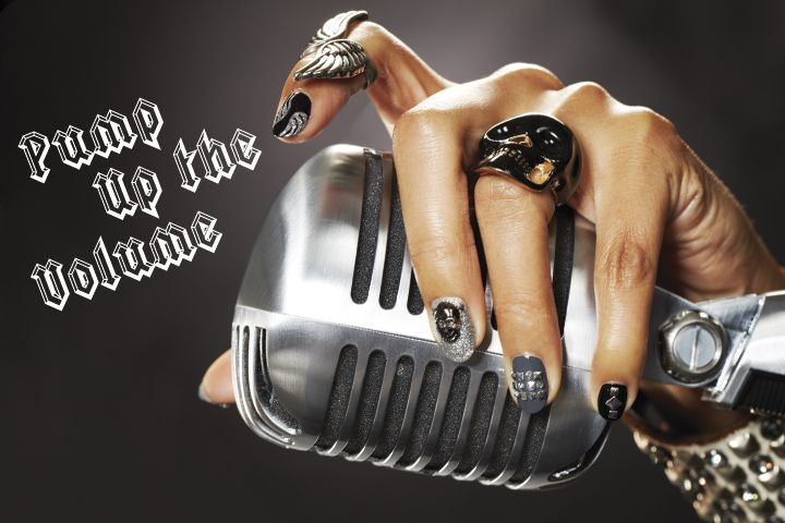 <p>Play off jewelry designs for nails that sing without being too matchy-matchy.</p> <p><strong>Nails:</strong> Donne Geer; <strong>Products:</strong> Presto Clear Gel, Gelish Jet Set Gel Polish, Presto Color Gel in #60 Minaccioso, Presto Top Gel, mkbeautyclub.com Skull Embellishment, naillabostore.com Flat Pyramid Studs (2 mm.-3 mm.), mkbeautyclub.com rhinestones, Silver Gouache for wings</p>