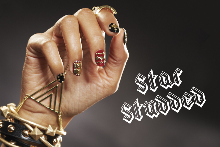 <p>Intricate hardware in shapes like pyramids and seeds creates a rocking combination.</p> <p><strong>Nails:</strong> Donne Geer; <strong>Products:</strong> Presto Clear Gel, Presto Color Gel in #80 Nobile and #60 Minaccioso, Presto Top Gel, naillabostore.com round, square, and seed-shaped studs, Dollarnailart.com bar studs, craft store pyramid studs</p> <p>Tip: Arrange all your studs on a flat surface before applying them to the nail for faster and easier application.</p>