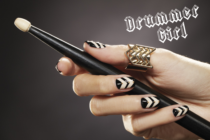 <p>Accent sharp chevrons with metal to emphasize the dagger-like points where the &ldquo;V&rdquo;s peak.</p> <p><strong>Nails:</strong> Ginny Geer; <strong>Products:</strong> OPI Color Gel in My Vampire is Buff, Presto Art Gel in A02 Black, Presto Top Gel, naillabostore.com NLS Metal Dots Gold #2</p>