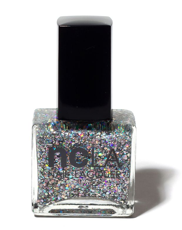 <p><strong>NCLA</strong> (Nail Couture Los Angeles)&rsquo;s Hollywood Hills Hot Number is a large flake multi-colored/silver glitter.</p>