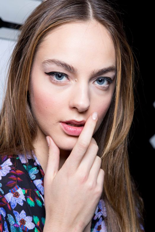 <p>Katie Janue Hughes dabbed butter London Cotton Buds in the middle of the nail then added Splash Out (yet to be released) for Nicole Miller</p>