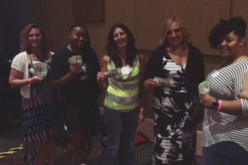 <p>The winners of NAILS' $100 raffle prize</p>