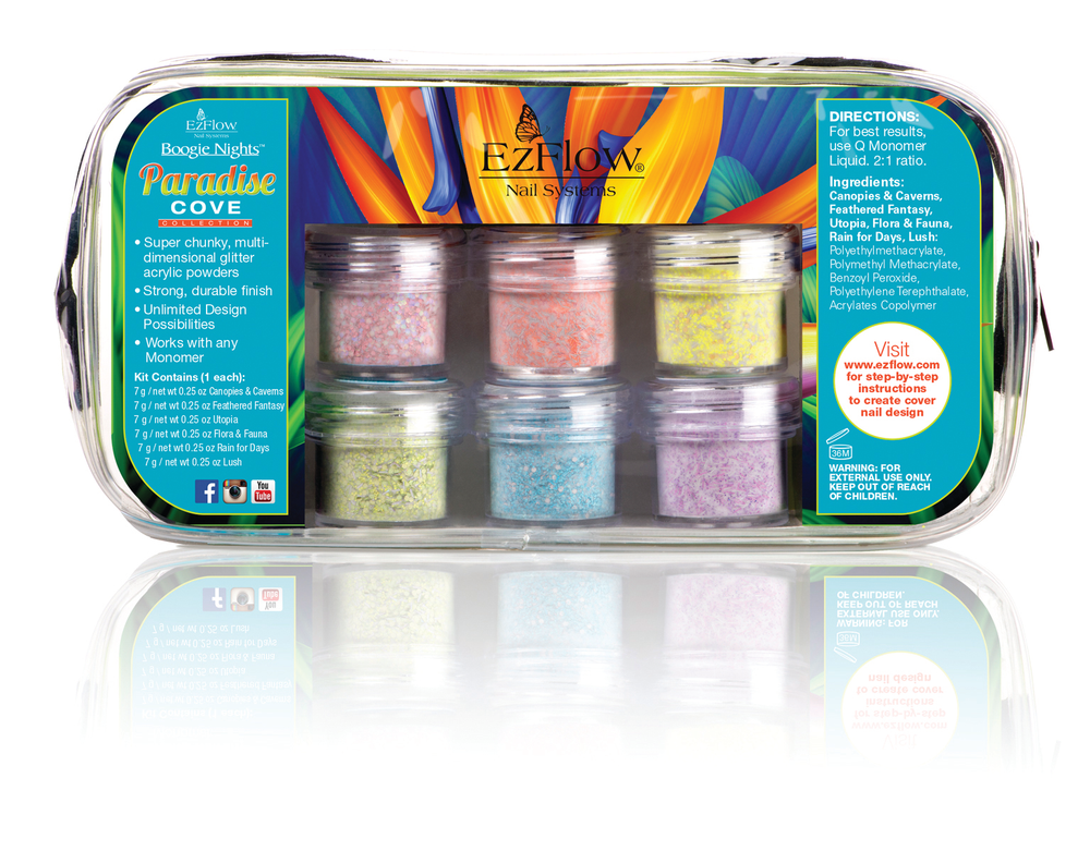 <p>Bright oranges, pinks, and purples contrast rich greens and blues making them appear even more vibrant with EzFlow&rsquo;s newest collection called Paradise Cove. The set of six, multi-dimensional, and highly pigmented acrylic glitter powders can be layered for intriguing depth or built-up for opaque coverage.&nbsp;</p>