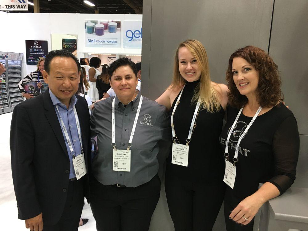 <p>LeChat's Newton Lu (left), Chris Kleppe, Shannon Rahn, and Yvette Pitt</p>