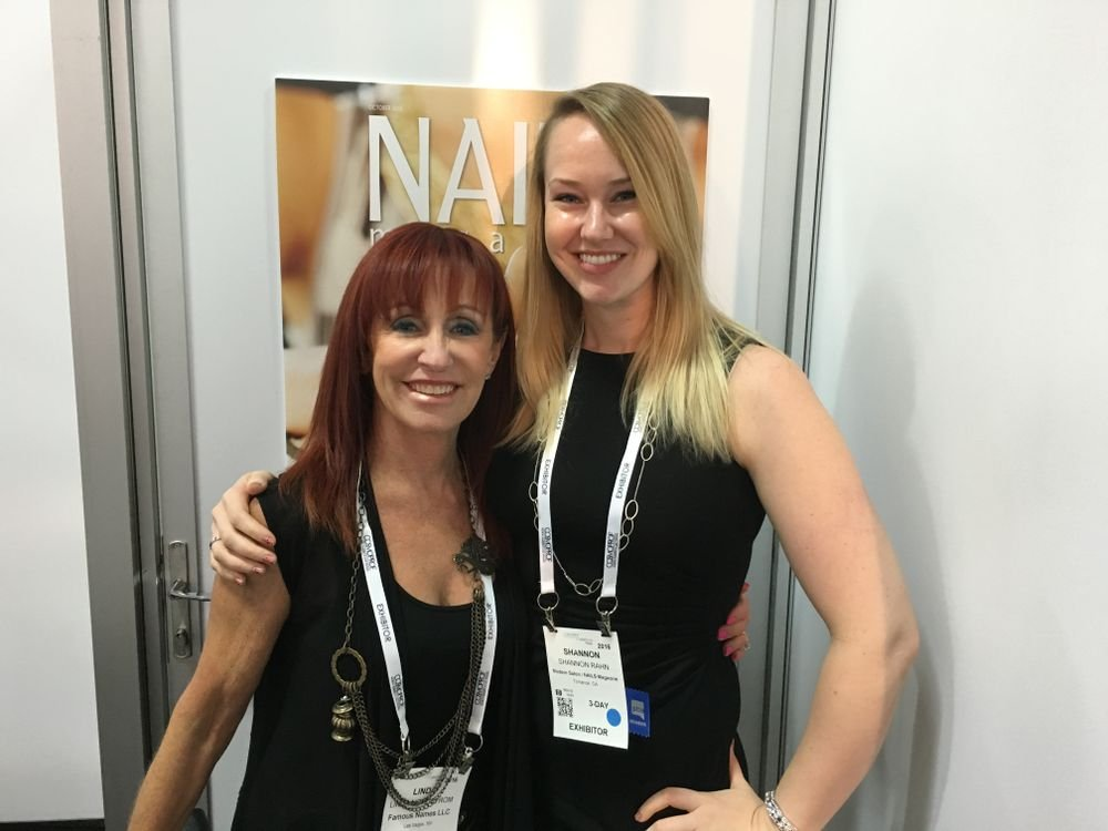 <p>Famous Names' Linda Nordstrom (left) and NAILS sales rep Shannon Rahn</p>