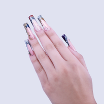 Victorian-Inspired French Tip Acrylic Nails