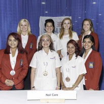 The 2015 Nail Care Technology Medalists: Front row L to R: High School medalists Silver...