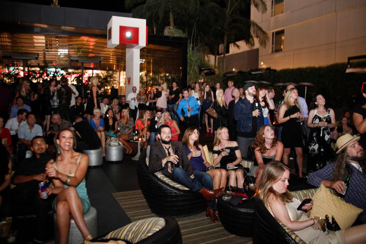 <p>Guests for Katie Cazorla's Nail Files season 2 premiere watch a screening of the first two episodes in the outside lounge at the W.</p>