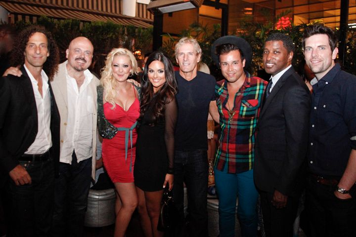 <p>From left to right: Kenny G, Walter Afanasieff, Katie Cazorla, Pia Toscano, Michael Bolton, Steph Gold, Babyface, and Chris Mann</p>