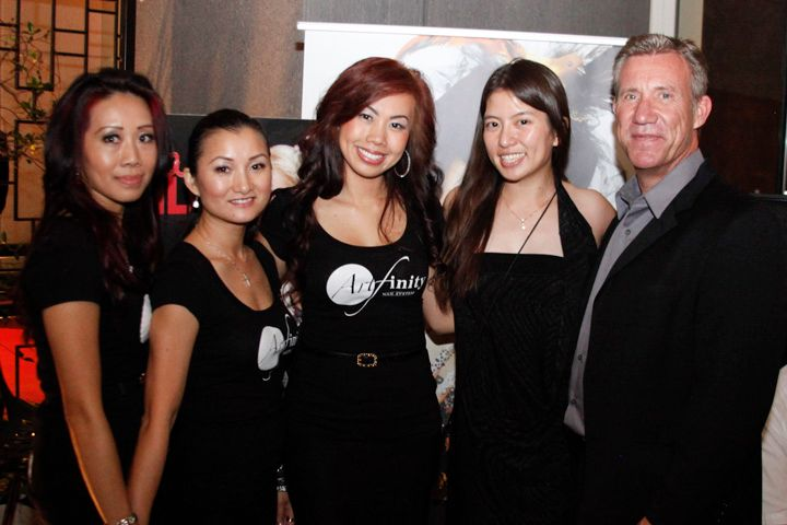 <p>VietSALON Magazine associate editor Kim Pham (second from right) with Beautiful Nails by Kupa educators Kiry Ya, Ann Chang, Sindy Mark, and Kupa president Richard Hurter</p>