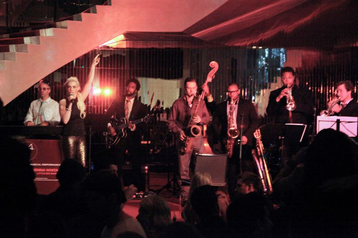 <p>Brenna Whitaker and her Little Big Band play during Jazz Night in The Livingroom at the W.</p>