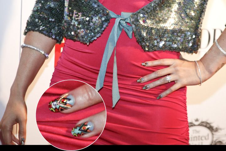 <p>Up-close view of Cazorla's nails, that she jokes she did on the car ride to the party.</p>