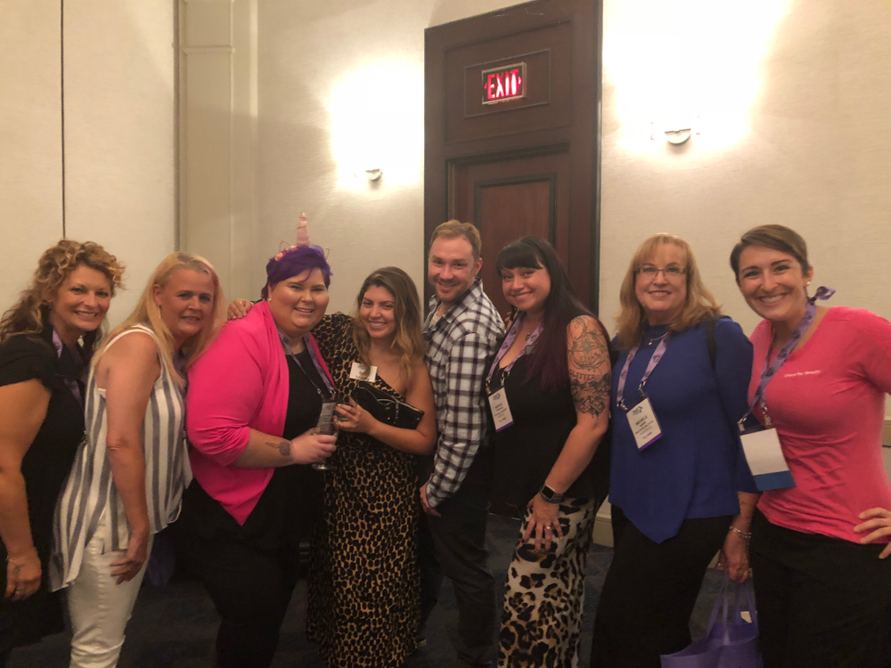 <p>Debbie Harris, Nancy Rigsbee Pickrell, RussAnna Dudley, NAILS' Beth Livesay, Braden Jahr, Nicole Franklin, Michele Baker, and Centre for Beauty at the Welcome Reception.</p>