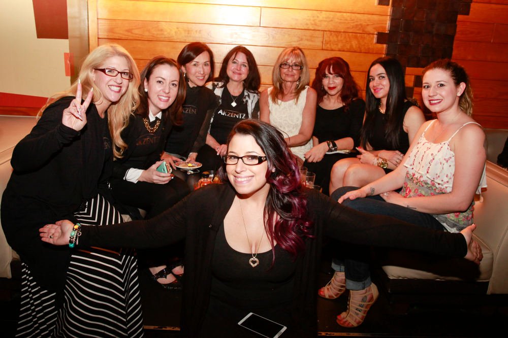 <p>Danielle Costantino (front) and her supporters</p>
