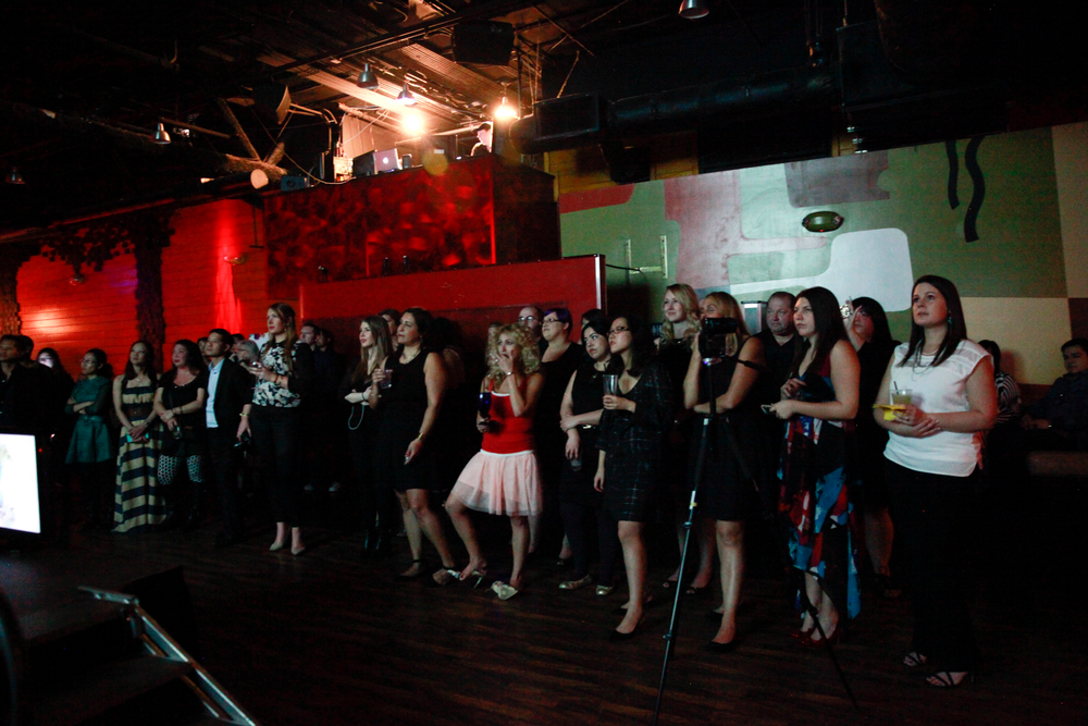 <p>The crowd getting ready for the presentation of the winner.</p>