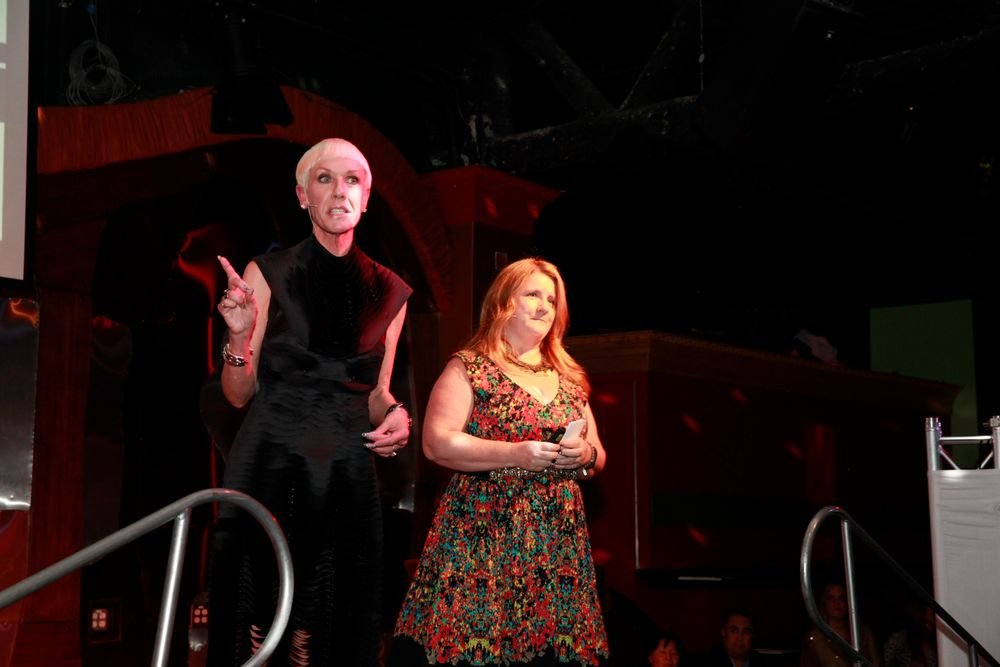 <p>CND's Jan Arnold and NAILS' Hannah Lee MC'd the evening.</p>