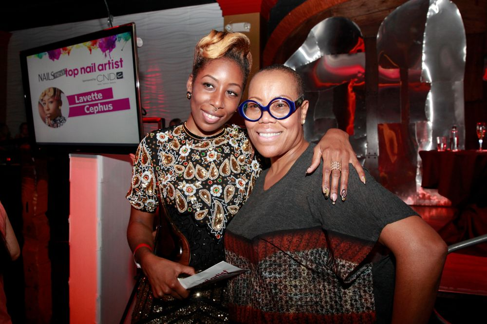 <p>NAILS Next Top Nail Artist Lavette Cephus with indsutry veteran Maisie Dunbar</p>