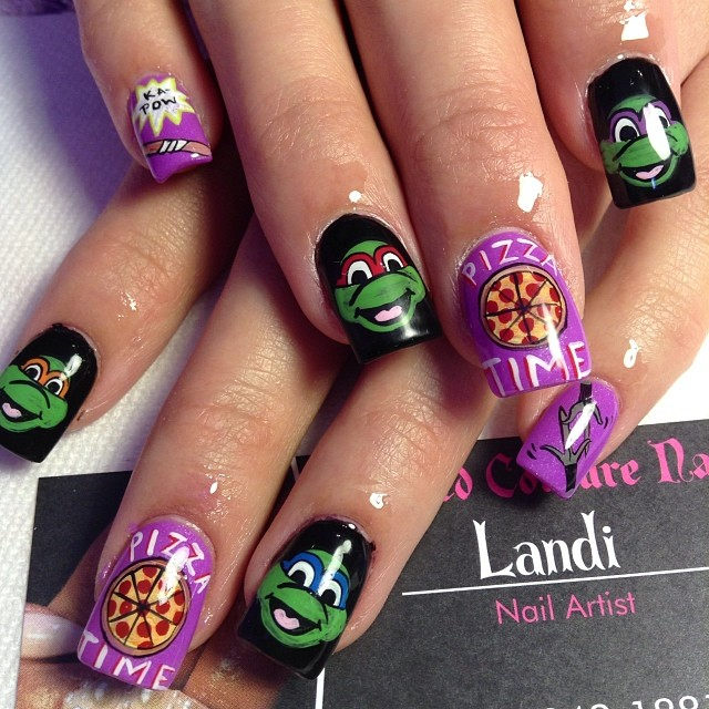 """<p>Teenage Mutant Ninja Turtle nails by <a href=""""http://instagram.com/nailsbylykecandy"""">Landi, Crowned Couture Nails</a>, Fresno, Calif.</p>"""