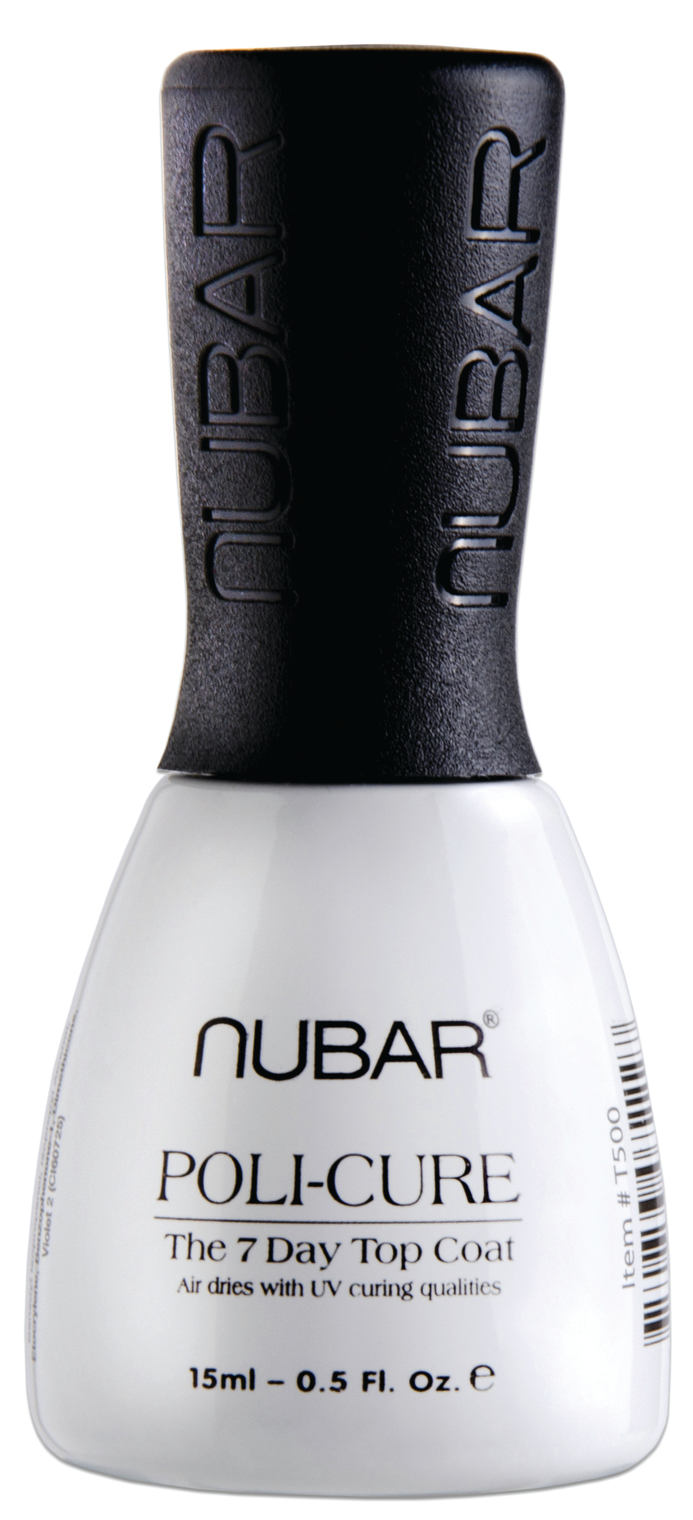"""<p>Poli-cure from <a href=""""http://bynubar.com/"""">Nuba</a>r is a brand new top coat. Poli-cure air dries with UV-curing qualities, so there is no need for a light. Add this top coat on to any polish color for a shine that will last 7-10 days and takes only three minutes to dry. Use regular nail polish remover to&nbsp; take top coat off.</p>"""