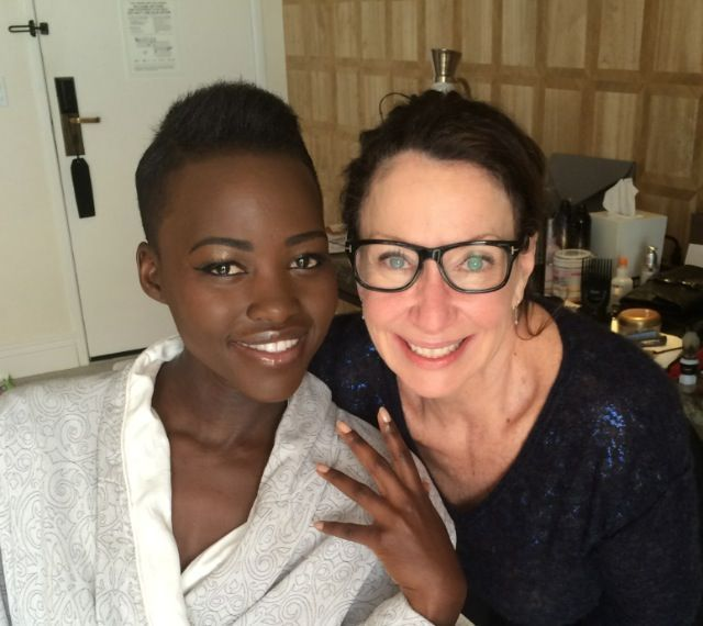 <p>Deborah Lippmann and Golden Globe nominee Lupita Nyong'o. Lippmann used Gel Lab Base Coat, one coat of Naked, one layer of Diamonds and Pearls, and finished with Gel Lab Top Coat. Image via @deborahlippmann</p>