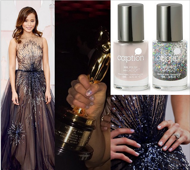 <p>Big Hero 6 cast member Jamie Chung clutches the Oscar for Best Animated Feature wearing Caption Polish Let Life Unfold and My, Oh My! Nails by Melissa DeLaCruz. Image via @caption</p>