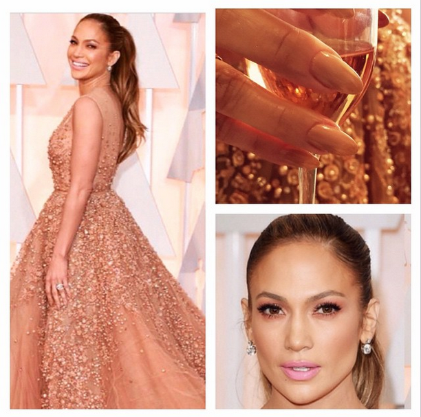 <p>Tom Bachik used a nude color on JLo, and then made it pop with rose gold on the underside for the Oscars. Image via @tombachik</p>