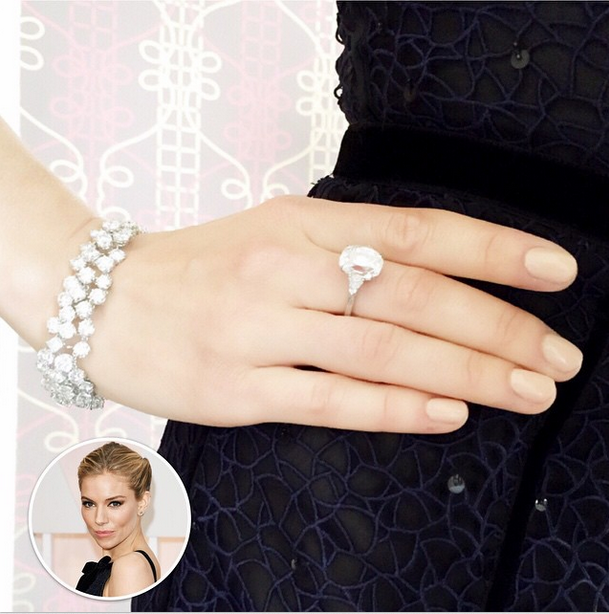 <p>Jenna Hipp used Chanel Beige along with her own blush-beige to get Sienna Miller's nails ready for the Acadamy Awards. Image via @jennahipp.</p>