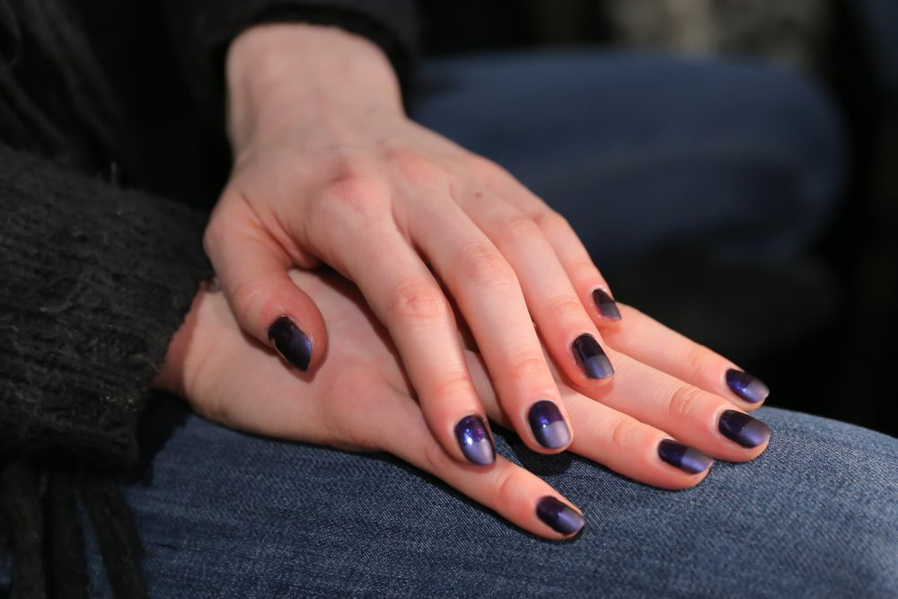 <p>OPI Ink and Matte Top Coat completed the nails at Charlotte Ronson.</p>