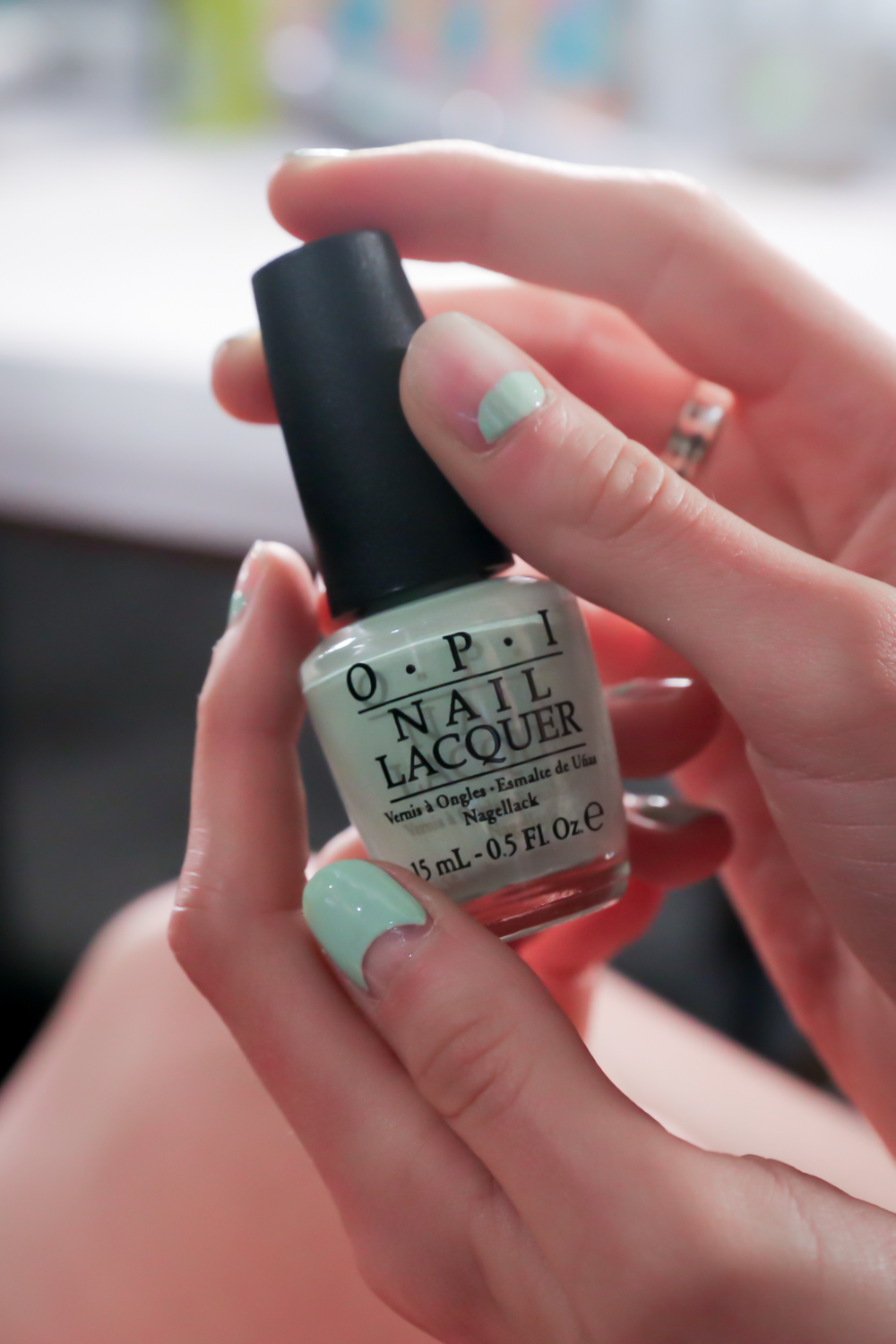 <p>To complement the collection's&nbsp;feminine color palette, which included blues ranging from pastel to navy, soft mint and cream, Miss Pop used That's Hula-rious! to create the look. Photo courtesy of OPI.&nbsp;</p>
