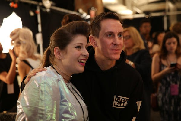 <p>OPI's Miss Pop and designer Jeremy Scott.</p>