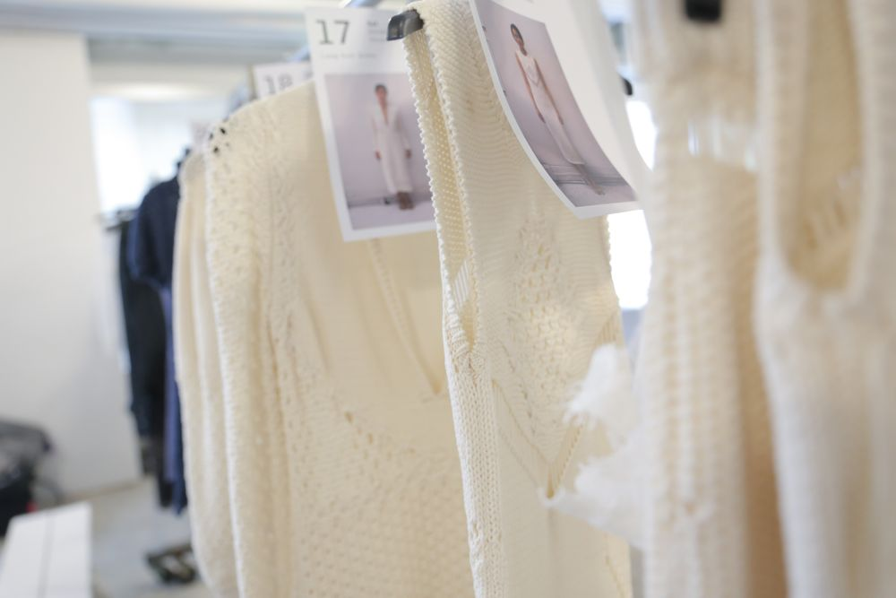 <p>Miss Pop's design at Azede Jean-Pierre offered an extension of several of the designer's pieces, which featured knitwear with cutout patterns. Photo courtesy of OPI.&nbsp;&nbsp;</p>