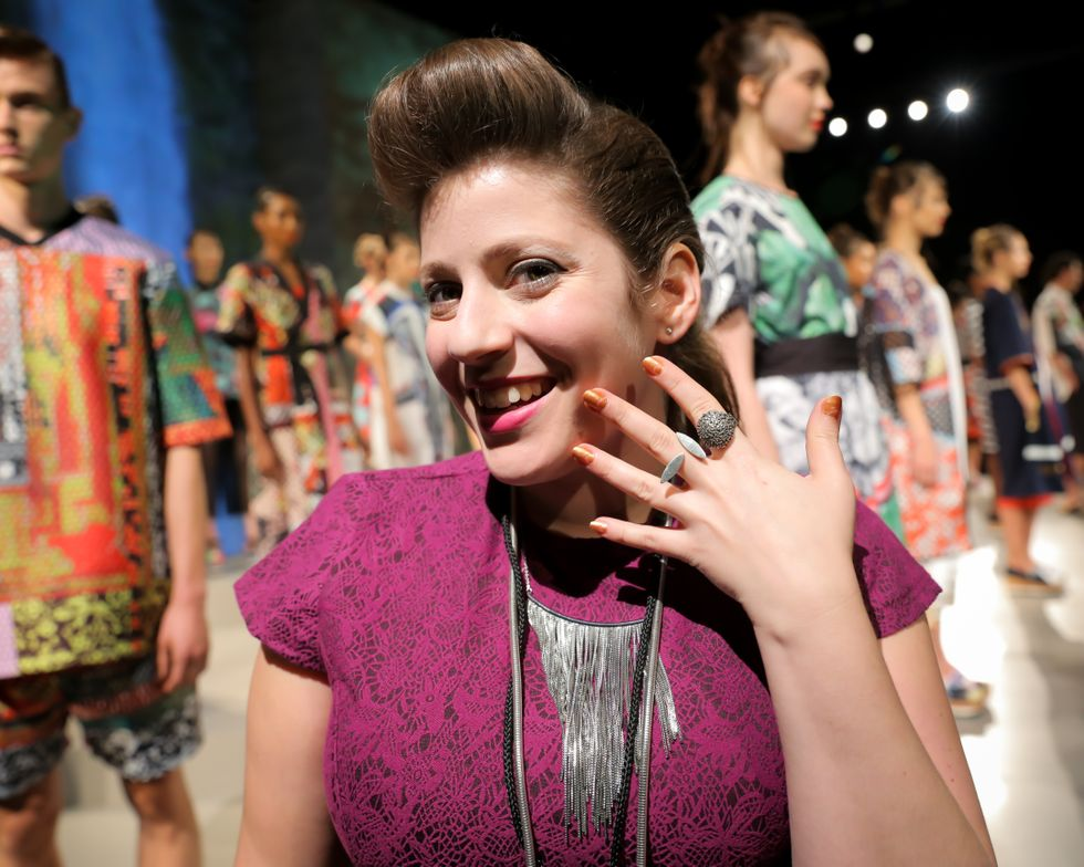 <p>Miss Pop transformed nails and toes using OPI with a Nice Finn-ish, a coppery gold hue that gave the look of jewelry against Clover Canyon's bold prints and bright colors. Photo courtesy of OPI.</p>