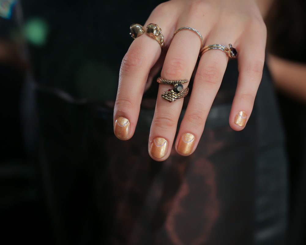 <p>The striking outline was perfected with a nail art brush and acetone at OPI for Clover Canyon. Photo courtesy of OPI.&nbsp;</p>