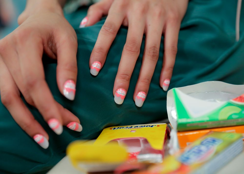 <p>Braces were a perfect fit for nails at OPI for Rachel Antonoff.</p>