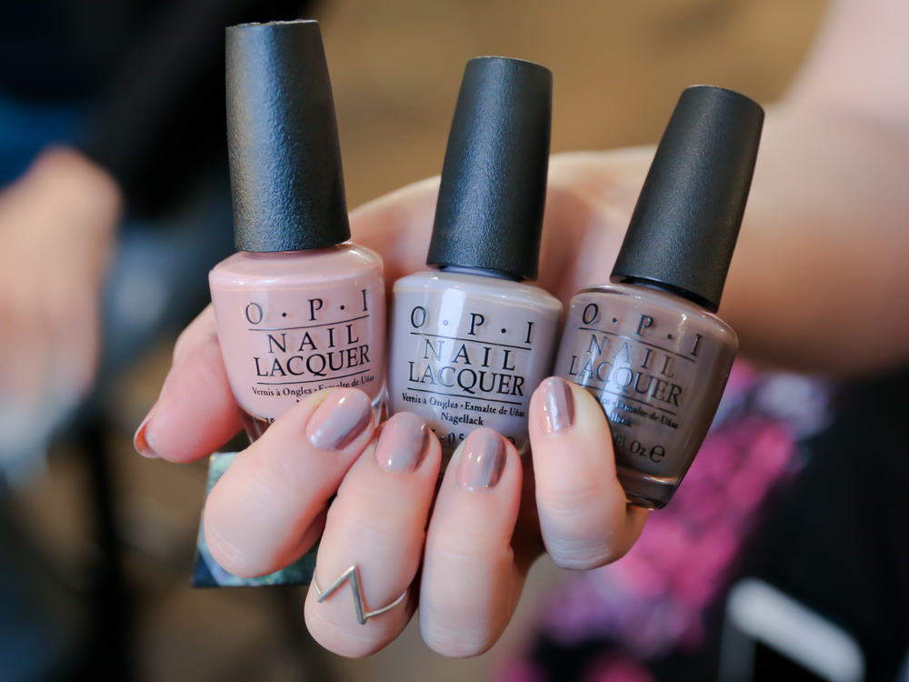 <p>OPI Dolce De Leche, Taupe-Less Beach, and You Don't Know Jacques were used to make the mani at Clover Canyon come alive.</p>