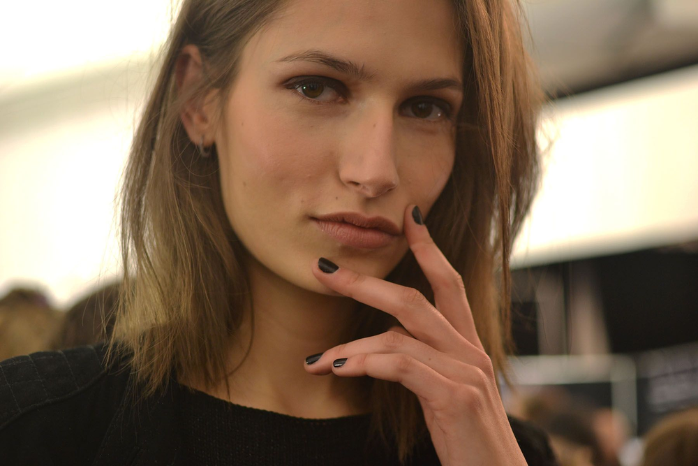 <p>BOLD COLOR: Models at BCBGMAXAZRIA walked the runway wearing OPI nail lacquer in Black Onyx topped with a coat of OPI Matte Nail Envy for a slightly matte finish with a little gloss. Photo courtesy of OPI</p>