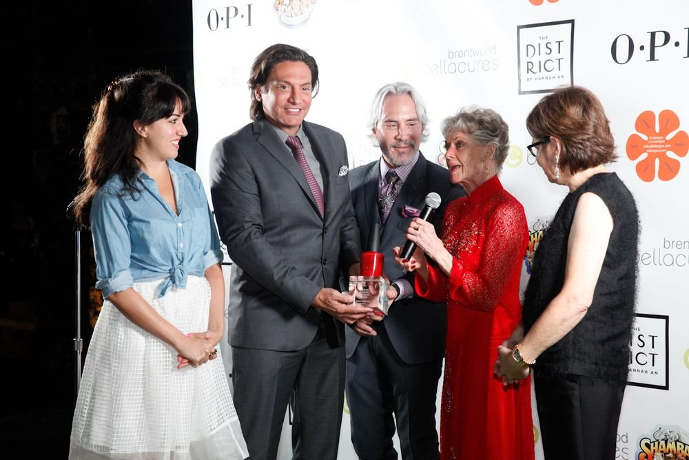 <p>Tippi Hedren accepts the Believe, Achieve, Empower award.</p>