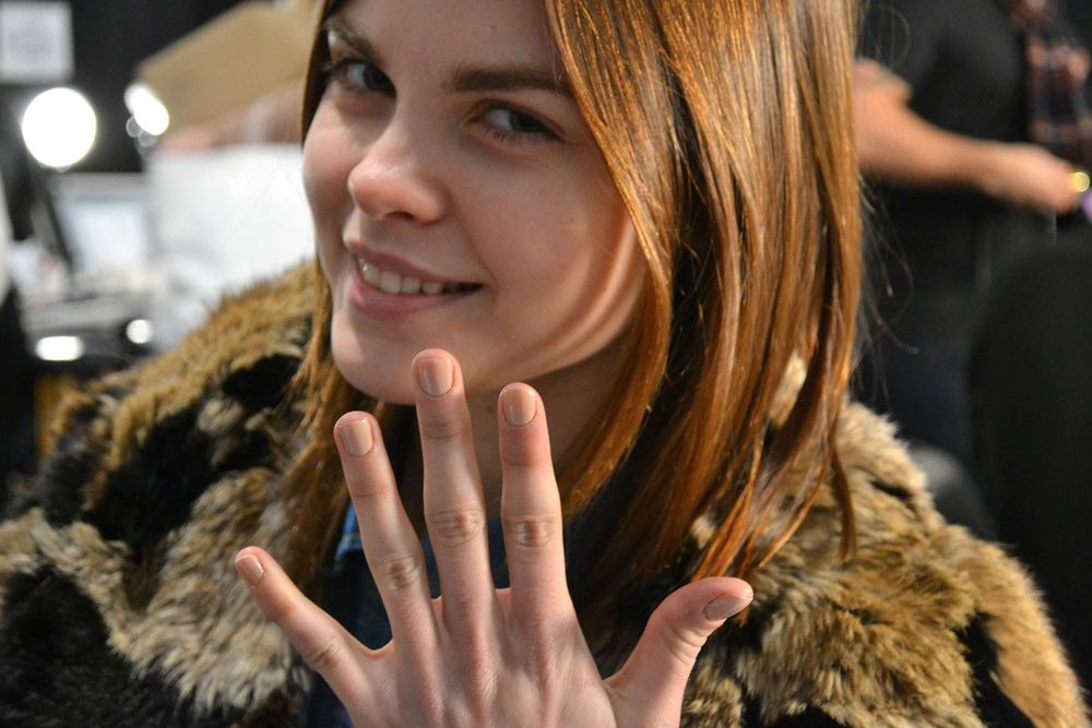 <p>NEUTRALS: Warm nude shade Don't Pretzel My Buttons nicely complemented the Gabriela Perezutti collection's rustic, romantic feel. Photo courtesy of OPI</p>