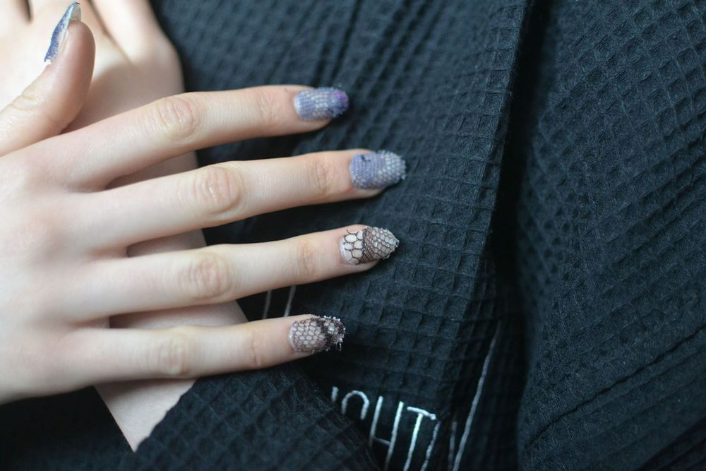 <p>NAIL ART: The models at the Houghton show wore tips painted with OPI nail lacquer in Samoan Sand and topped with an extravagant lace featured in several of Polk's designs. Photo courtesy of OPI</p>