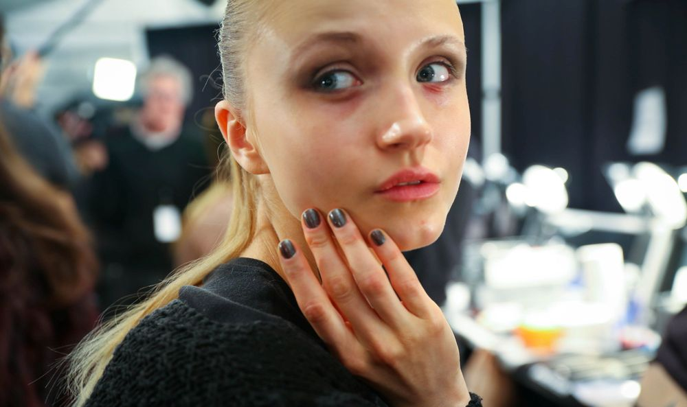 <p>METALLICS: The rich, metallic hues seen throughout the Joanna Mastroianni line were continued with nails, which were polished to a graphite silver sheen by layering OPI nail lacquer in Lucerne-tainly Look Marvelous over OPI nail lacquer in My Private Jet. Photo courtesy of OPI</p>