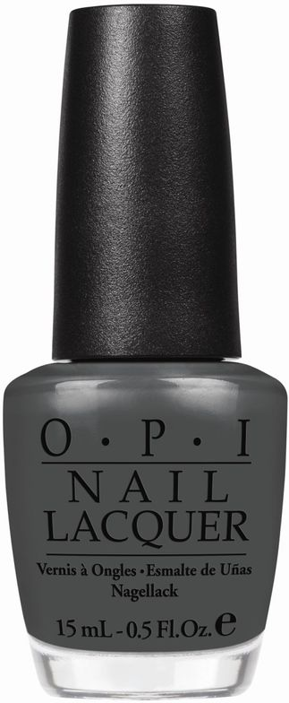 <p><strong>OPI </strong>nail lacquer in Nein! Nein! Nein! OK Fine! is a bold, black-olive grey.</p>