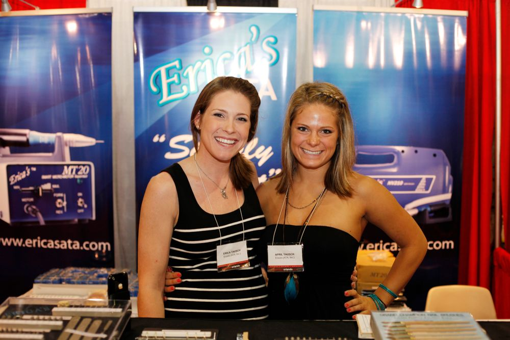 <p>Sisters Erica and April Tausch helped promote some of Erica&rsquo;s new electric file drills. The family-owned Erica&rsquo;s, founded by their parents was named after the oldest of the two sisters.</p>