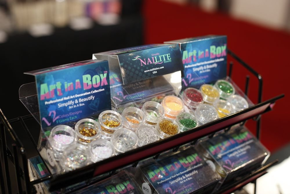 <p>Nailite had new Art in a Box nail art glitters and embellishments.</p>