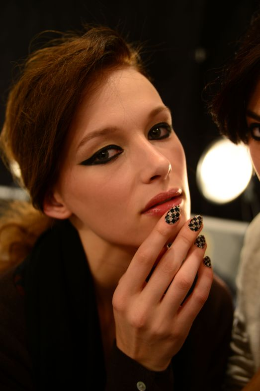 <p>NAIL ART: New York City-based nail artist Miss Pop worked with Orly to create a sexy lace nail look inspired by fabric from Emerson&rsquo;s fall collection.</p>
