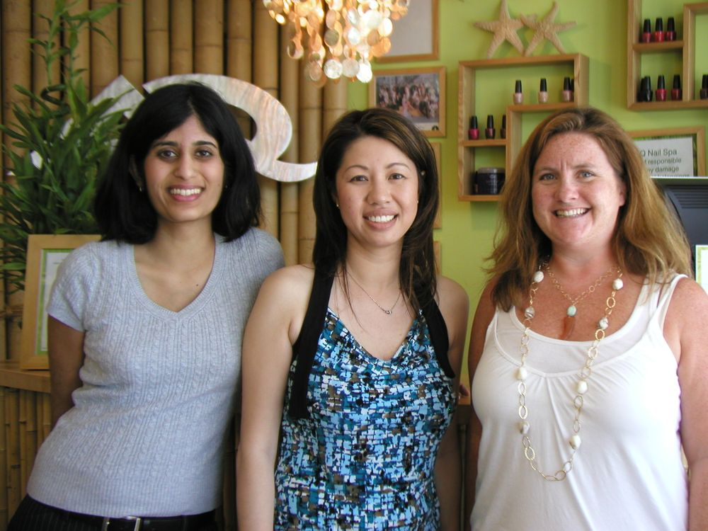 <p>With former managing editor Sree Roy at a salon in California.</p>