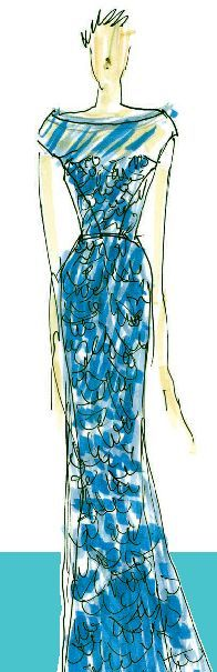 <p>Alluring <strong>Blue Curacao</strong> evokes thoughts of tropical destinations and pays homage to the 2010 Color of the Year, <br />Turquoise.<br />Illustration by Carmen Marc Valvo. Originally appeared in The Pantone Fashion Color Report Spring 2011.</p>