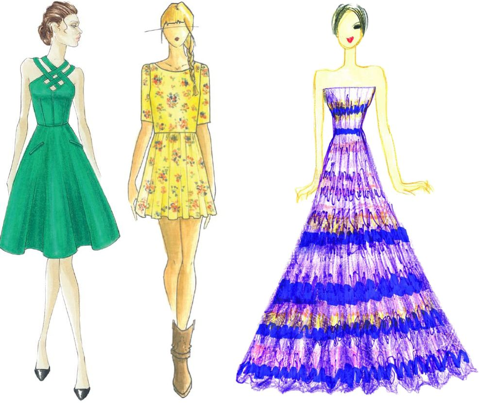 <p>These are several of the colors identified by The Pantone Institute as making up the color palette for spring 2013. From left to right: Emerald (the color of the year), Lemon Zest, and African Violet. Click through the slideshow to view more details about all 10 fall colors.<br /><br /><em>Illustrations by (left to right): Barbara Tfank, Ella Moss by Pamella Protzel-Scott, and Tadashi Shoji. Originally appeared in The Pantone Fashion Color Report Spring 2013.</em></p>
