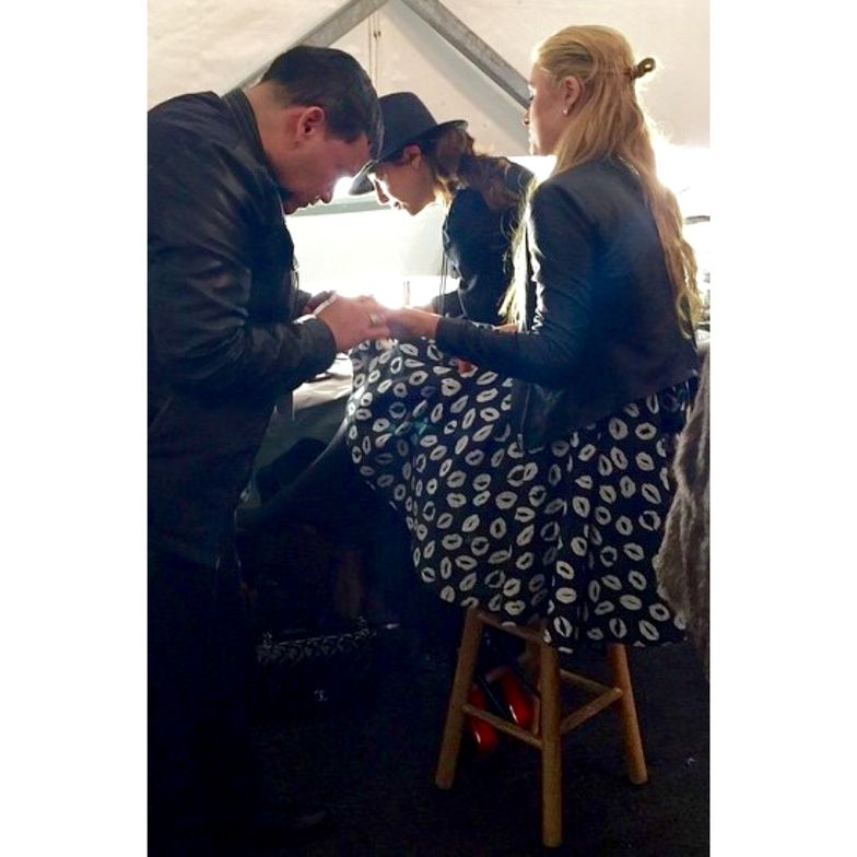<p>Celebrity manicurist Mr. Luis used Patricia Nail Lacquer in Presence to paint Paris Hilton's nails. Hilton walked the runway at Naomi Campbell's Fashion for Relief show.</p>