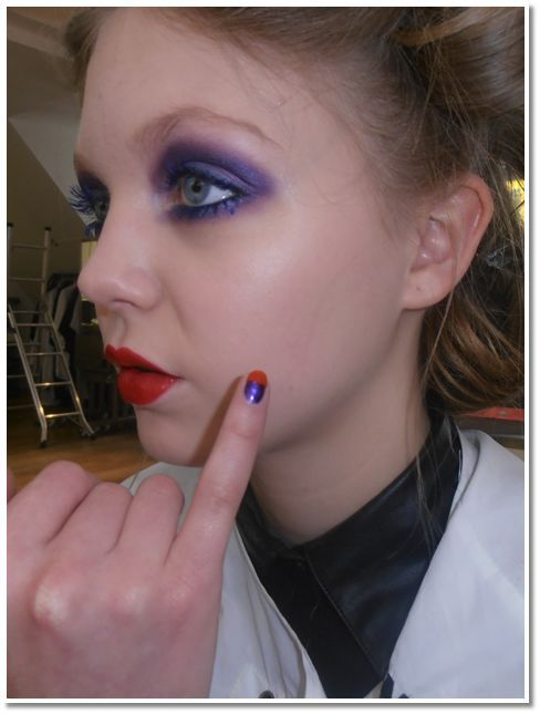 """<p class=""""TDP"""">At London Fashion Week, nail tech Pebbles Aikens created a color block manicure in <strong>Mavala</strong> polish in Orange Amazone and Purple Sensation for the Dans La Vie show. <em>Photography by Pebbles Aikens</em></p>"""